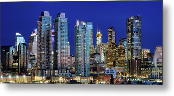 Metal Print featuring the photograph Calgary's Blue Hour by David Buhler