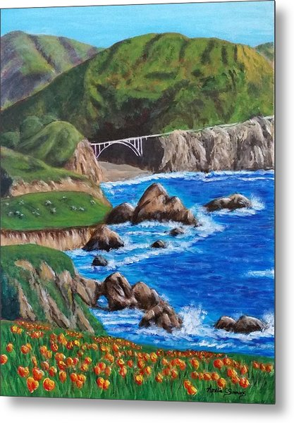 Metal Print featuring the painting California Coastline by Amelie Simmons