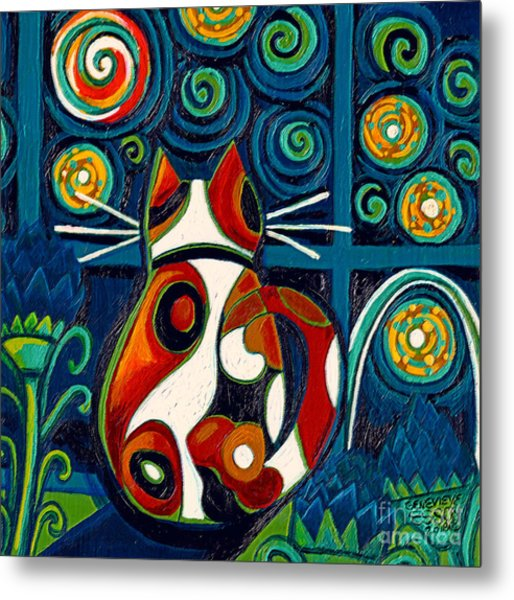 Calico Cat At Window On A Starry Night Metal Print