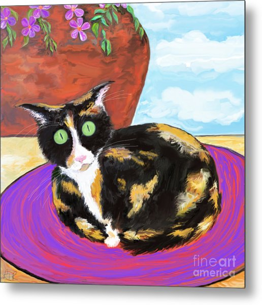 Calico Cat On A Rug  Metal Print