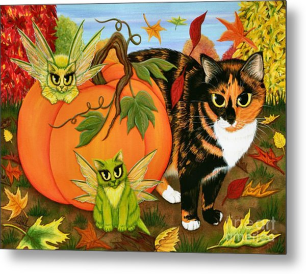 Calico's Mystical Pumpkin Metal Print