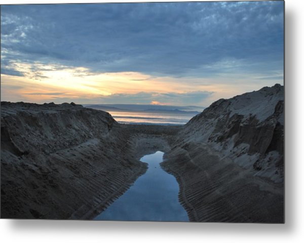 California Beach Stream At Sunset - Alt View Metal Print