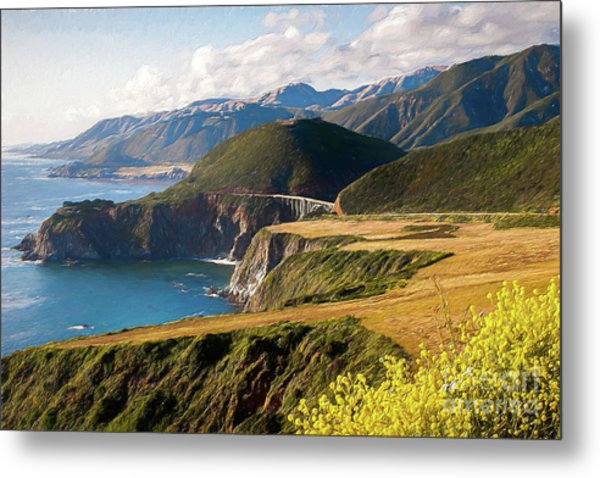 California Coast -  A View Of Bixby Ap Metal Print by Dan Carmichael