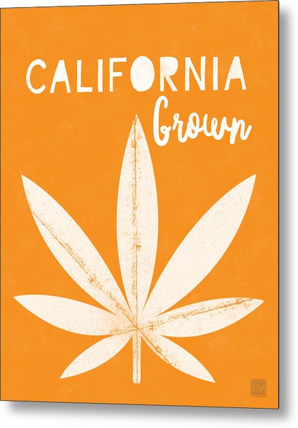California Grown Cannabis Orange- Art By Linda Woods Metal Print