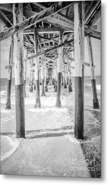 California Pier Black And White Picture Metal Print