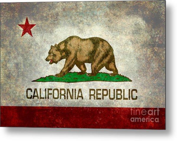 California Republic State Flag Retro Style Metal Print