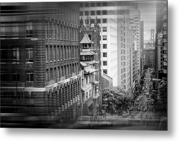 California Street San Francisco In Black And White  Metal Print