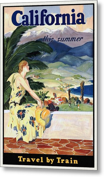 California This Summer - Travel By Train - Vintage Poster Restored Metal Print
