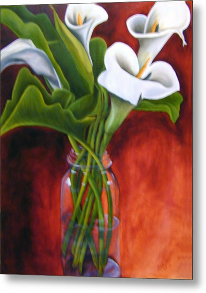 Calla Lilly On Red Metal Print