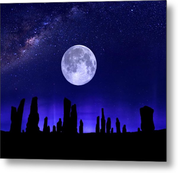 Callanish Stones Under The Supermoon.  Metal Print