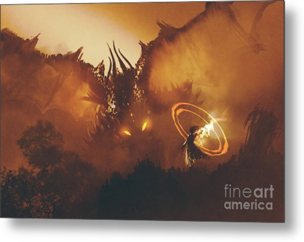 Metal Print featuring the painting Calling Of The Dragon by Tithi Luadthong