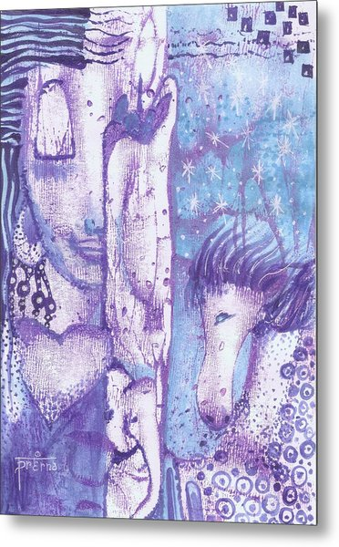 Metal Print featuring the mixed media Calling Upon Spirit Animals by Prerna Poojara