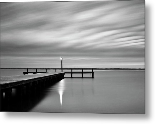 Calm Barnegat Bay New Jersey Black And White Metal Print
