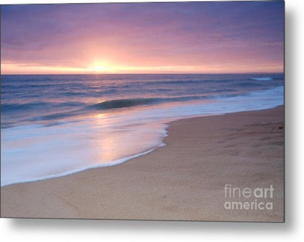 Calm Beach Waves During Sunset Metal Print