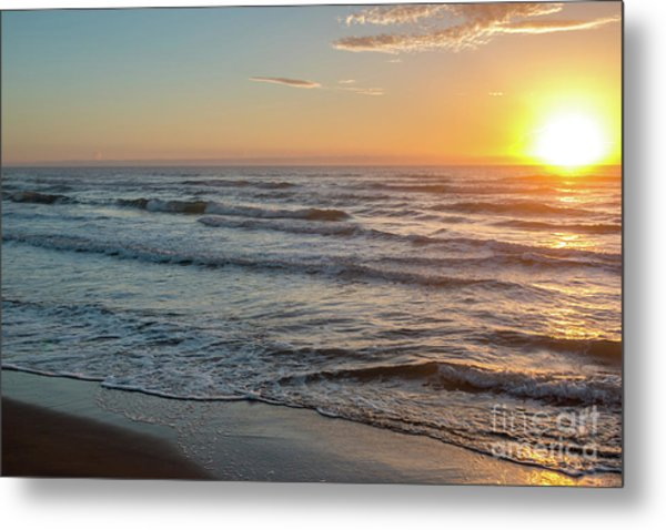 Calm Water Over Wet Sand During Sunrise Metal Print