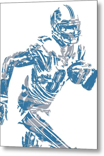 Calvin Johnson Detroit Lions Pixel Art 5 Metal Print