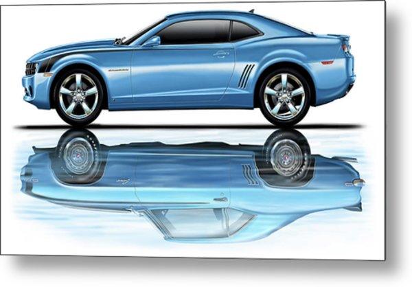 Camaro 2010 Reflects Old Blue Metal Print by David Kyte