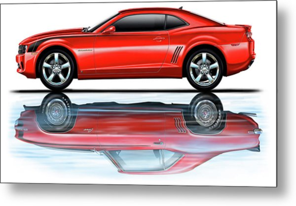 Camaro 2010 Reflects Old Red Metal Print by David Kyte