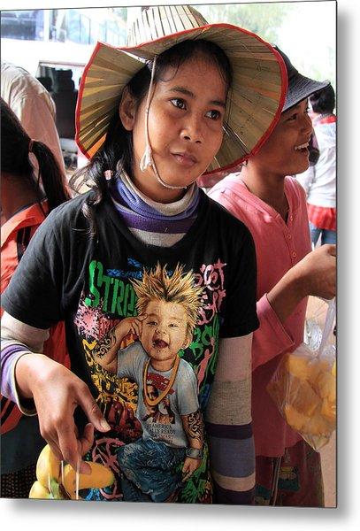 Cambodia Sales Girl Metal Print