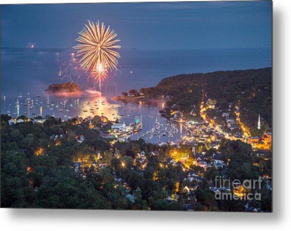 Camden Fireworks From Mount Battie Metal Print