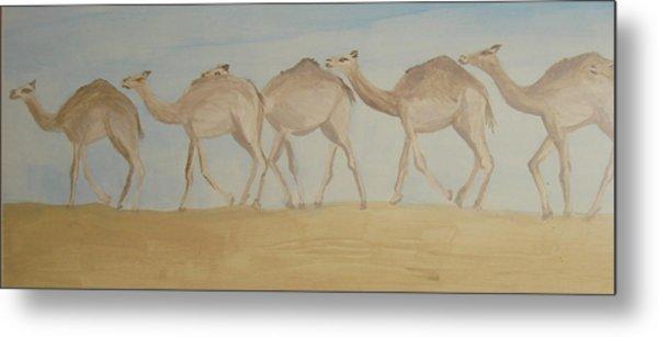 Camel Train Metal Print by Wendy Peat
