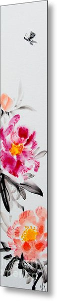 Camellia And Butterfly Metal Print