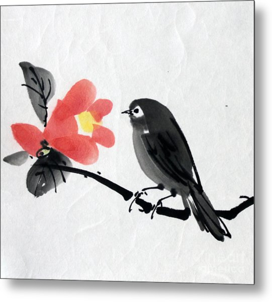 Camellia And A Little Bird Metal Print