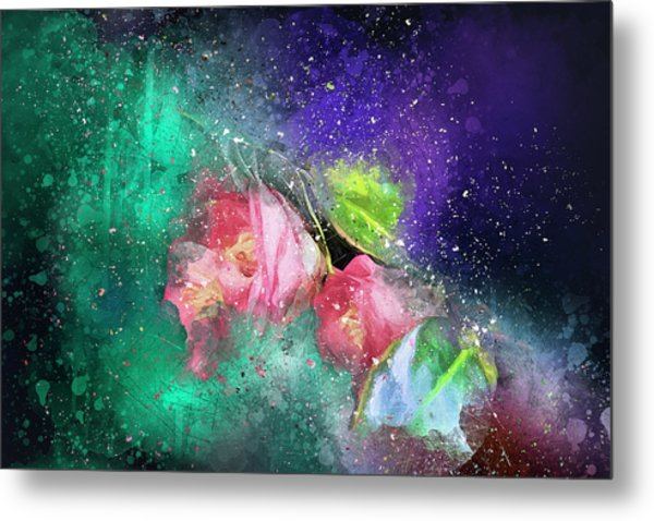 Camellias In A Galaxy Far Far Away Metal Print