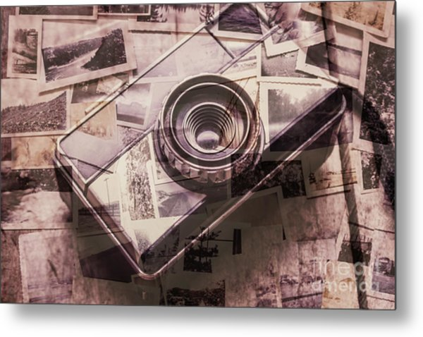 Camera Of A Vintage Double Exposure Metal Print
