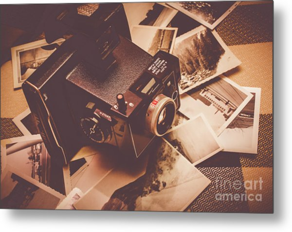 Cameras And Scattered Photos Metal Print