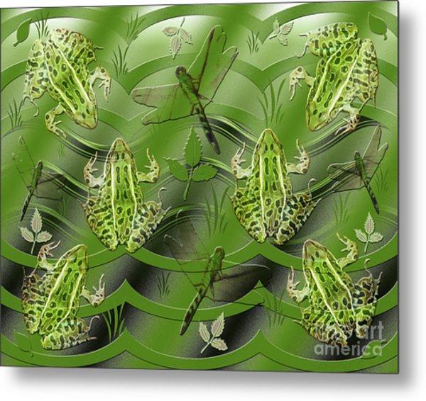 Camo Frog Dragonfly Metal Print
