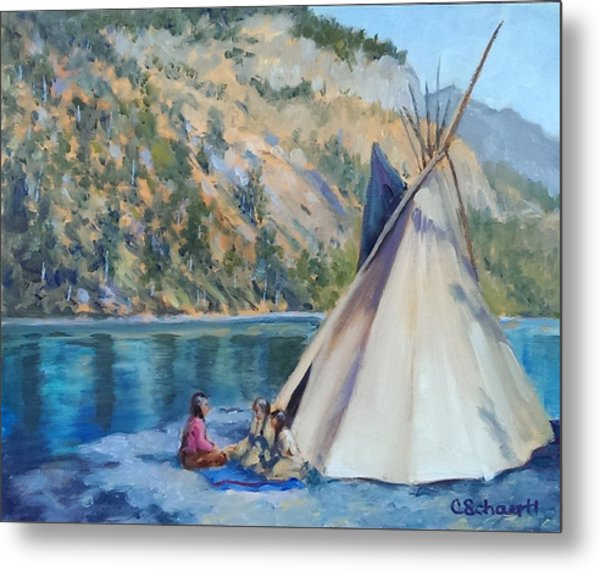 Camp By The Lake Metal Print
