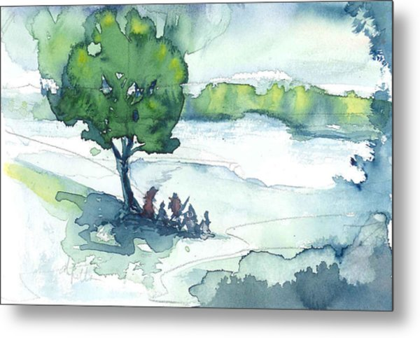 Camp On The Lake Metal Print by Don  Vella