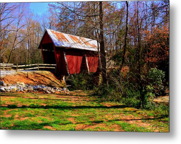 Metal Print featuring the photograph Campbell's Covered Bridge Est. 1909 by Lisa Wooten