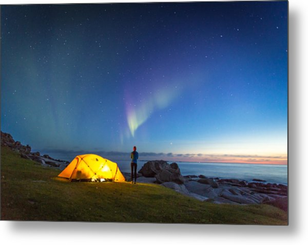 Camping Under The Northern Lights Metal Print