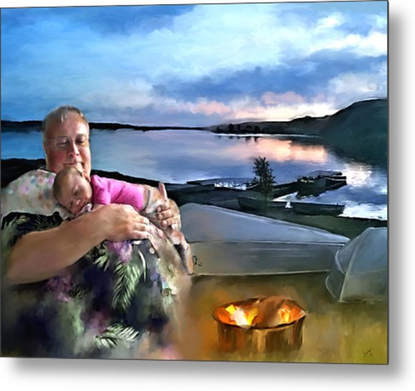 Camping With Grandpa Metal Print