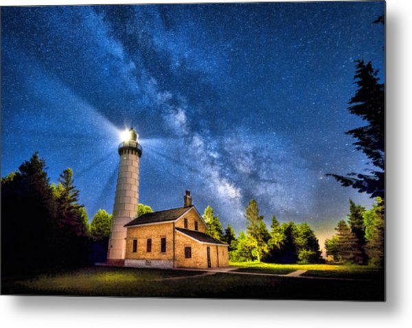 Cana Island Lighthouse Milky Way In Door County Wisconsin Metal Print