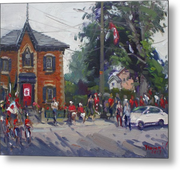 Canada Day Parade At Glen Williams  On Metal Print