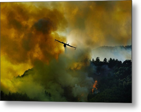 Canadair Aircraft In Action - Fighting For The Salvation Of The Forest. Metal Print by Antonio Grambone