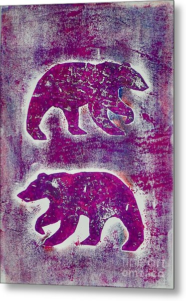 Canadian Bears Pink  Metal Print
