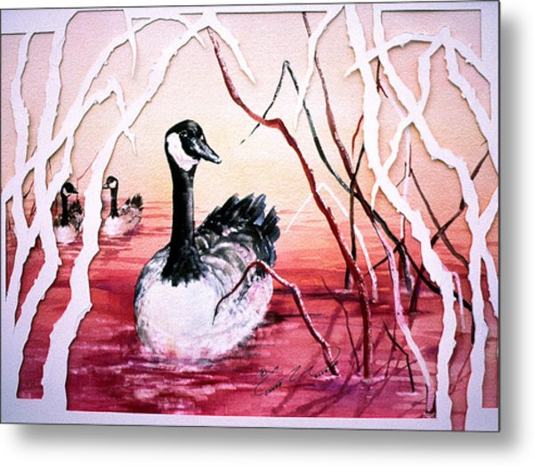 Canadian Geese Sunset Metal Print