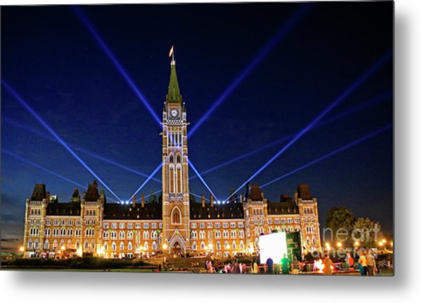 Canadian Parliament At Night Metal Print