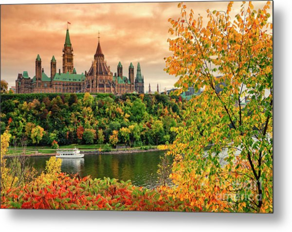 Canadian Parliament Hill In Autumn Metal Print