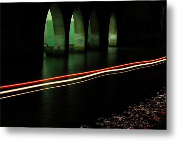 Canal By The Firehouse In Venice At Night Metal Print by Michael Henderson