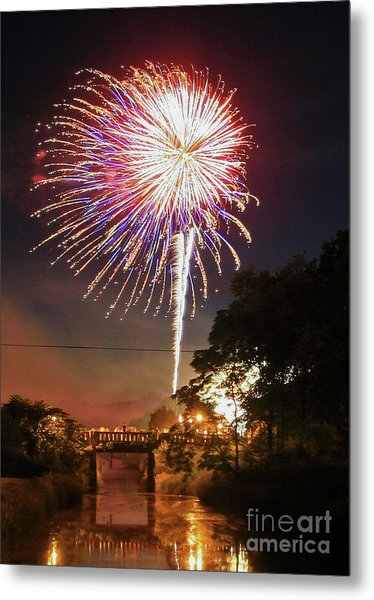 Canal View Of Fire Works Metal Print