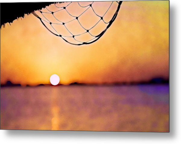 Cancun Sunset On The Lake Metal Print