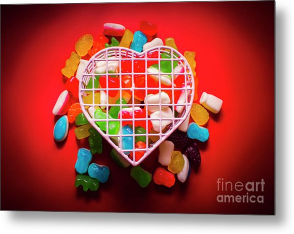 Candies And Hearts Metal Print