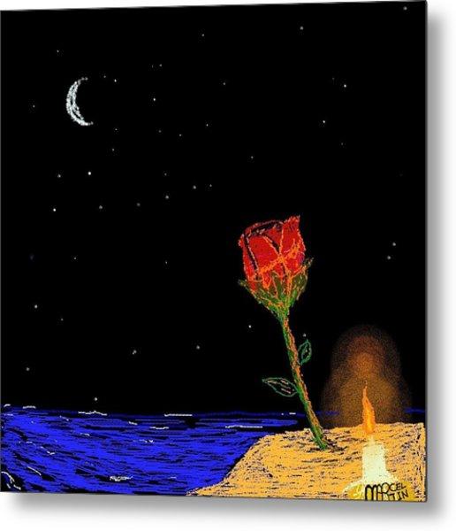 Candle Lit Rose Metal Print