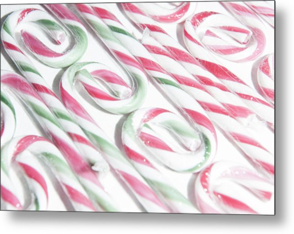 Candy Cane Swirls Metal Print