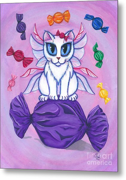 Candy Fairy Cat, Hard Candy Metal Print